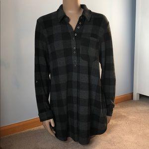 Soft Surroundings Fleece Black Gray Plaid Tunic